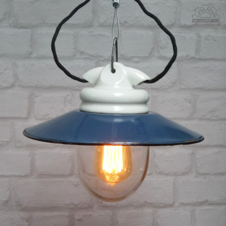 Lampa emaliowana porcelanowa z lat 50'