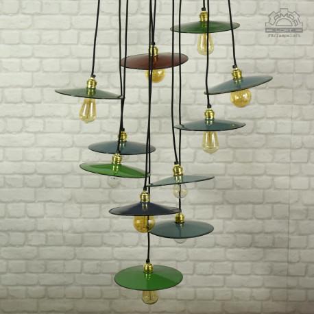Emaliowane lampy talerzykowe z lat 60'