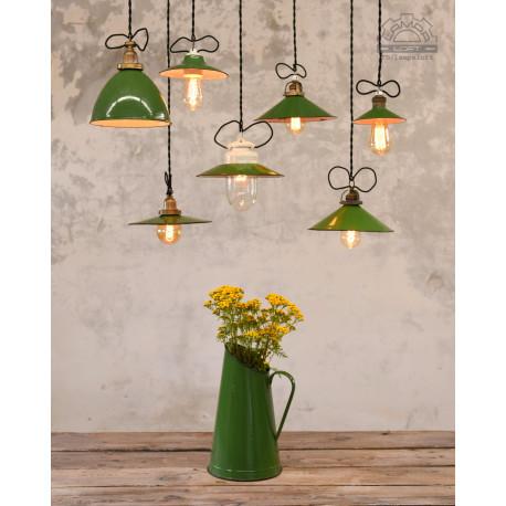 Zestaw lamp emaliowanych z lat 30'-60'
